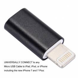 micro-USB till Lightning kontakt i sort