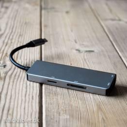 USB-C-docka med HDMI, RJ-45, 2x USB 3,0 och Micro SD-och SD-kort