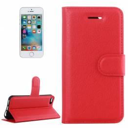 iPhone 5/5s/SE konstläder omslag med vikbar röd