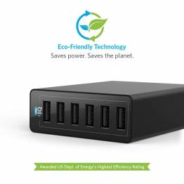 Ankare Powerport 6 med 6x USB-portar 60W svart