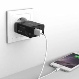 Anker 2x USB vægoplader 24W Sort til iPad og iPhone