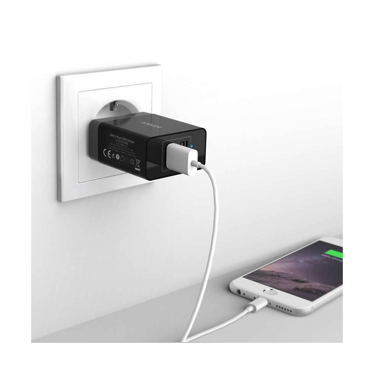 Anker 2x USB väggladdare 24W svart för iPad och iPhone