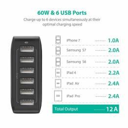 Amber Power 6-Port USB Hub laddare m. 60W i svart