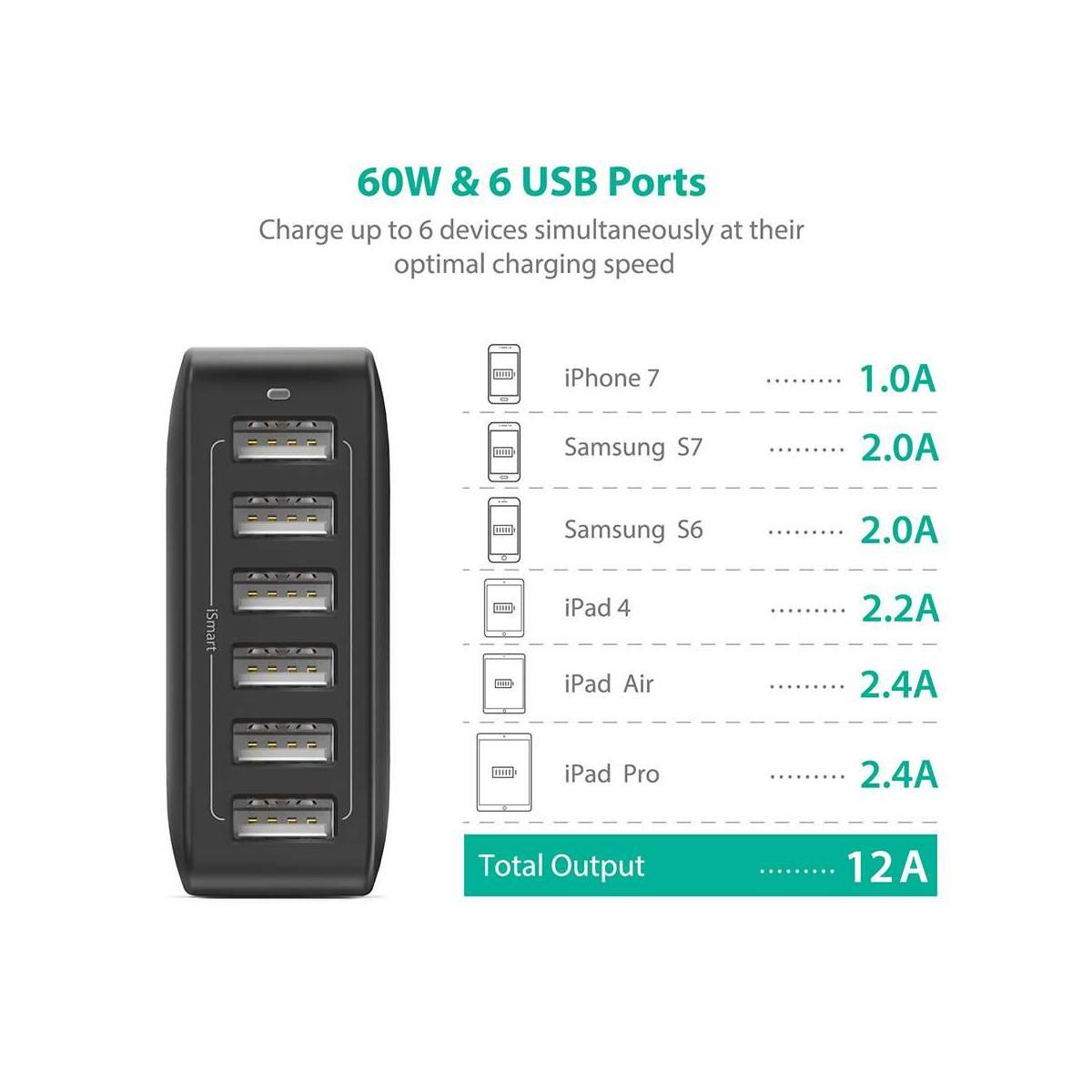 Amber Power 6 Port USB Hub laddare m. 60W i svart