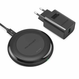 RAVPower Trådløs Qi Oplader m. 7,5W hurtig opladning inkl. QC3 USB oplader i sort