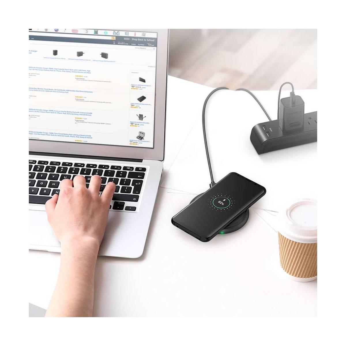 Amber Wireless Qi laddare W. 7, 5W snabb laddning inkl. QC3