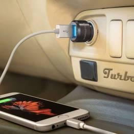 Bärnsten ström 2x USB billaddare W. upp till 24W laddning