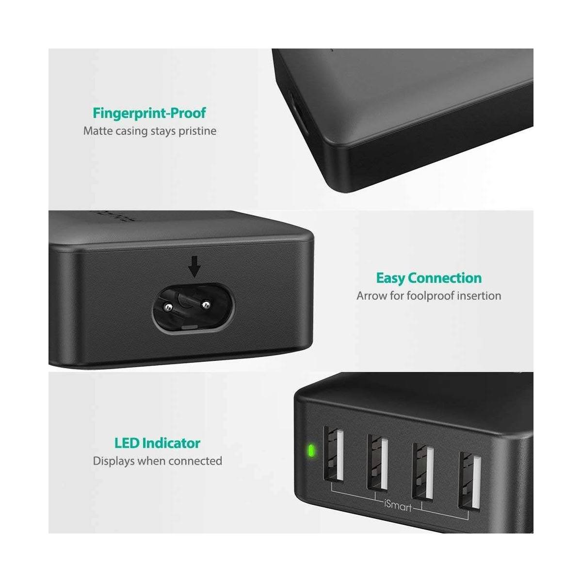 RAVPower 40W 8A 4 port USB Hub laddare iSmart 2.0, Svart