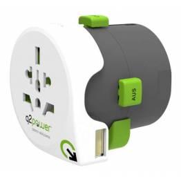 Q2Power QDAPTER Hele verden til hele verden rejseadapter m. USB oplader