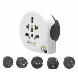 Q2Power QPLUX 5 i 1 värld/EU till World Travel adapter