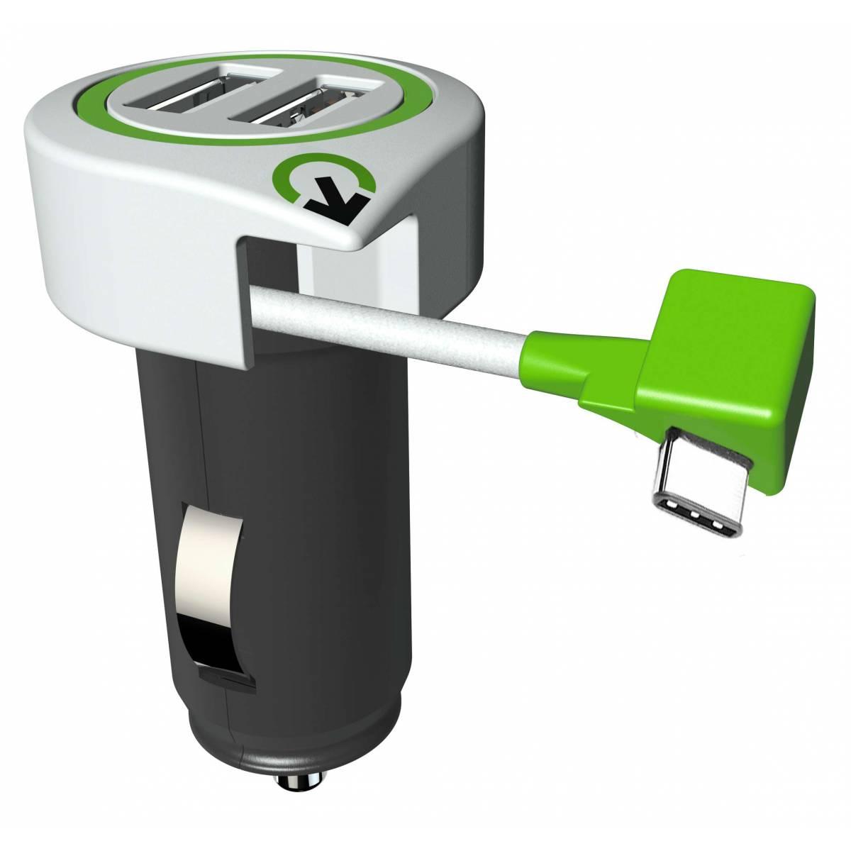 Q2Power Triple USB billaddare med USB C kabel Mackablar.se