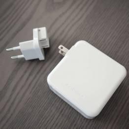 Amber Power 3-Port 65W USB-C PD Mac laddare med 2 x USB-väggladdare i vitt