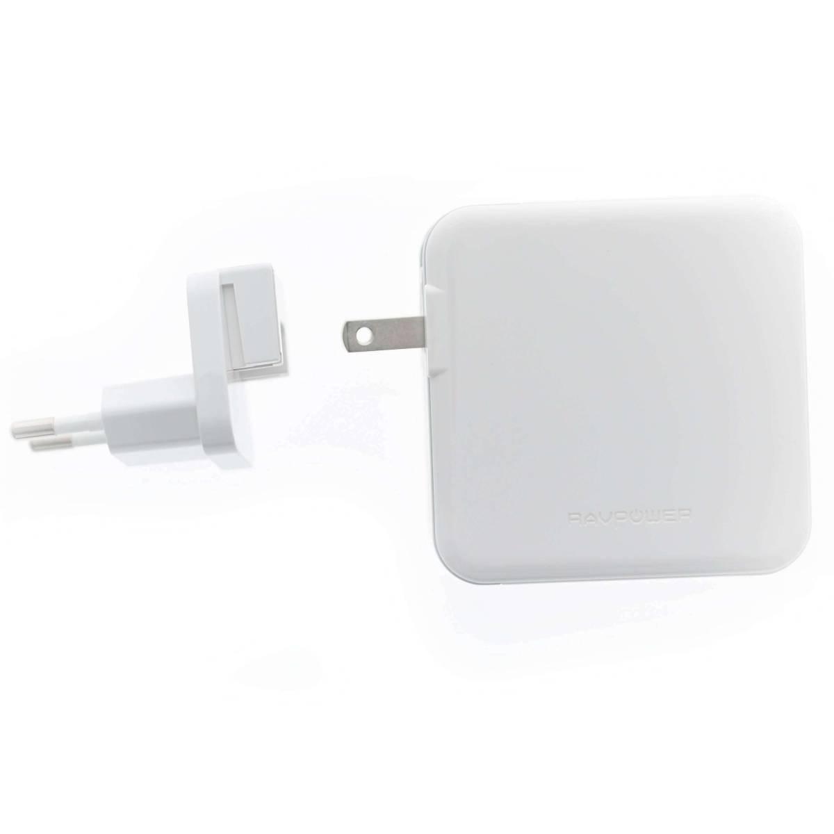 RAVPower 3 port 65W USB C PD Mac oplader med 2 x USB