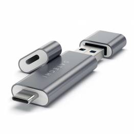 Satechi USB-C och USB 3,0 Micro/SD-kortläsare av aluminium
