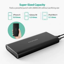RAVPower Ace Series 26.800mAh Powerbank USB-C og USB