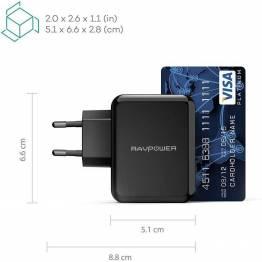 RAVPower 2x USB-väggladdare 24W svart för iPad och iPhone