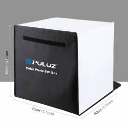 PULUZ fotolåda med 2 LED-paneler och flera ryggar