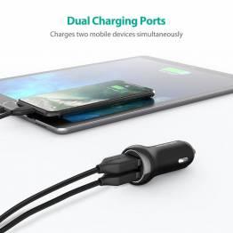 Bärnsten ström 2x USB billaddare W. upp till 17W laddning