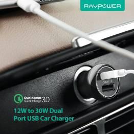 Bärnsten ström 2x USB billaddare W. upp till 30W laddning