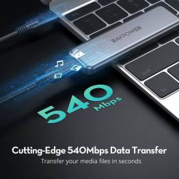 RAVPower 500 GB Portable SSD sort m. USB-C 540Mbps