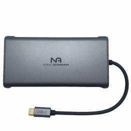 Nordic USB-C hub 12 i 1 2xHDMI, DP, USB 3.0, netværk osv