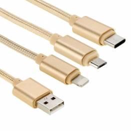 Multi laddare kabel Lightning, MicroUSB och USB-C i silver Ugreen