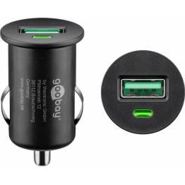 3SIXT billaddare med USB och USB-C (15W och 12W)