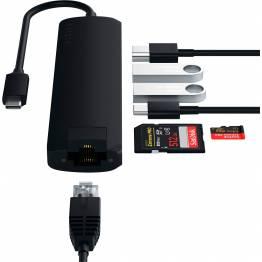 Satechi Slim USB-C adapter m. Ethernet, HDMI, USB 3.0 og kortlæser, Sort