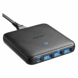 Anker PowerPort Atom III Slim 45W USB C + 3x USB-A Sort