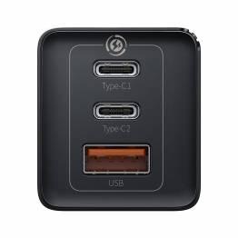 Baseus GaN 3-port 65W USB-C PD Mac oplader