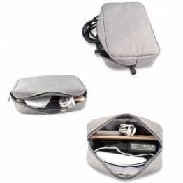 Liten väska för kablar och laddare - grå