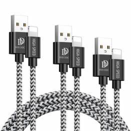DUX DUCIS Tough Lightning Nylonkabel 3 -pack - 0,25m, 1m och 2m