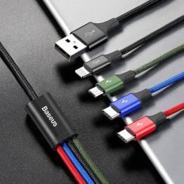 Baseus 4-i-1 multiladdarkabel USB-Lightning, MicroUSB och 2x USB-C