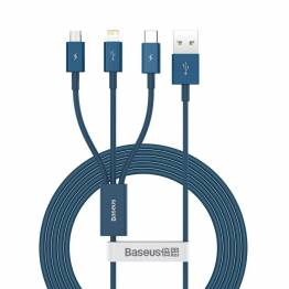Baseus Superior 3-i-1 USB-kabel för Lightning, MicroUSB och USB-C -blå