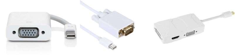 Thunderbolt (Mini displayport) til VGA adaptere og kabler