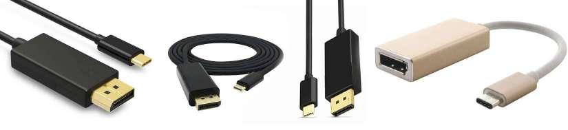USB-C (Thunderbolt 3) för DisplayPort-adaptrar och-kablar
